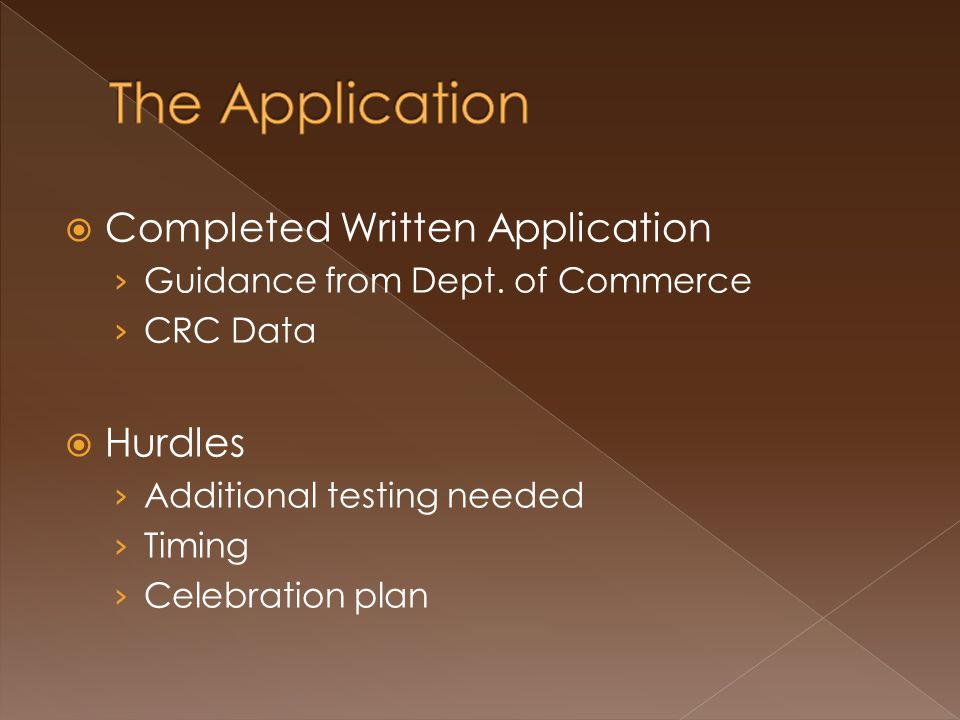  Completed Written Application › Guidance from Dept.