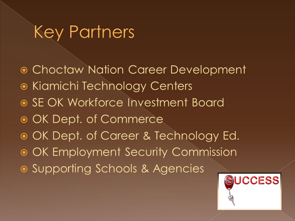  Choctaw Nation Career Development  Kiamichi Technology Centers  SE OK Workforce Investment Board  OK Dept. of Commerce  OK Dept. of Career & Tec