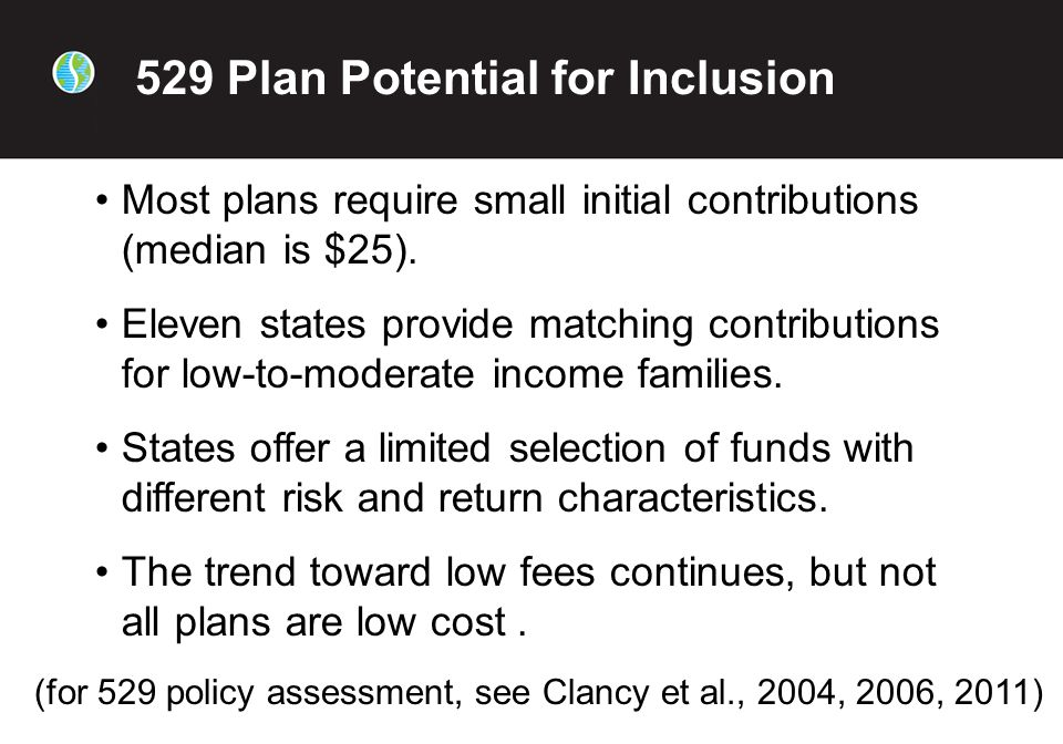 Most plans require small initial contributions (median is $25).