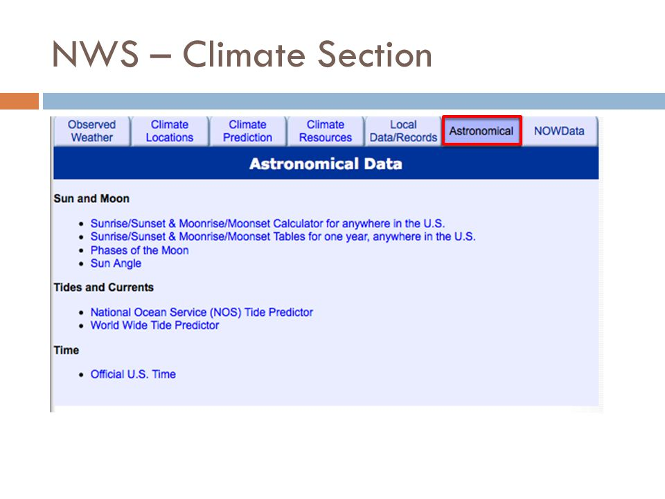 NWS – Climate Section