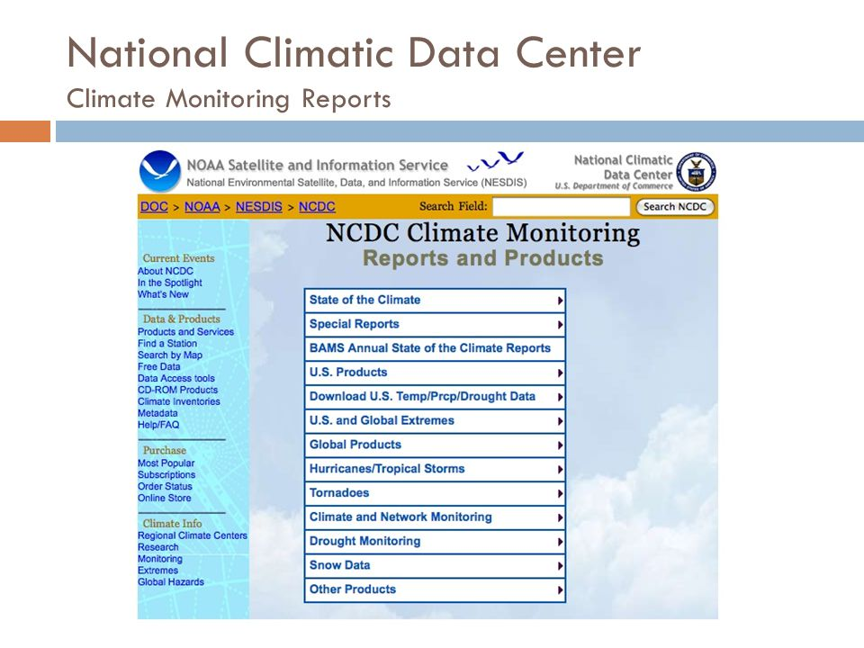 National Climatic Data Center Climate Monitoring Reports