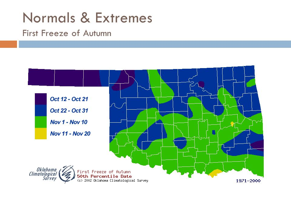Normals & Extremes First Freeze of Autumn
