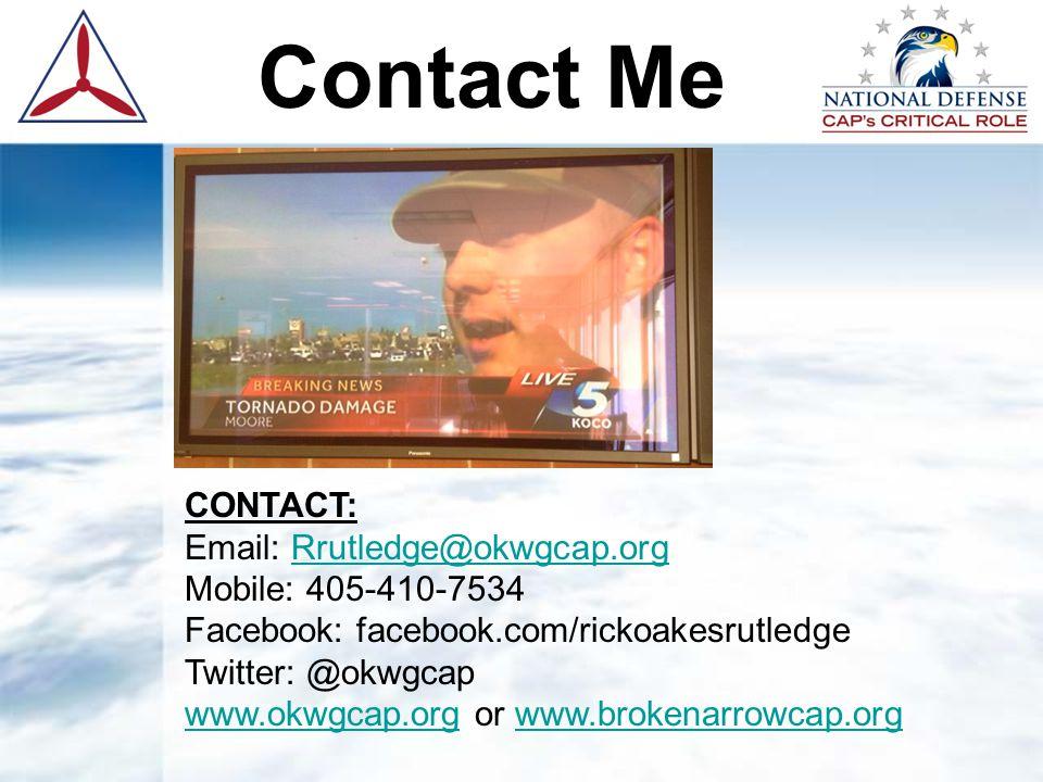 Contact Me CONTACT: Email: Rrutledge@okwgcap.orgRrutledge@okwgcap.org Mobile: 405-410-7534 Facebook: facebook.com/rickoakesrutledge Twitter: @okwgcap www.okwgcap.orgwww.okwgcap.org or www.brokenarrowcap.orgwww.brokenarrowcap.org