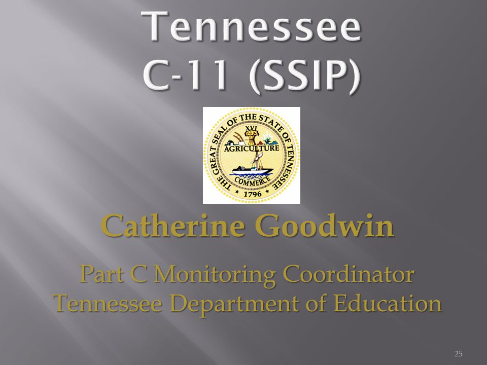25 Catherine Goodwin Part C Monitoring Coordinator Tennessee Department of Education