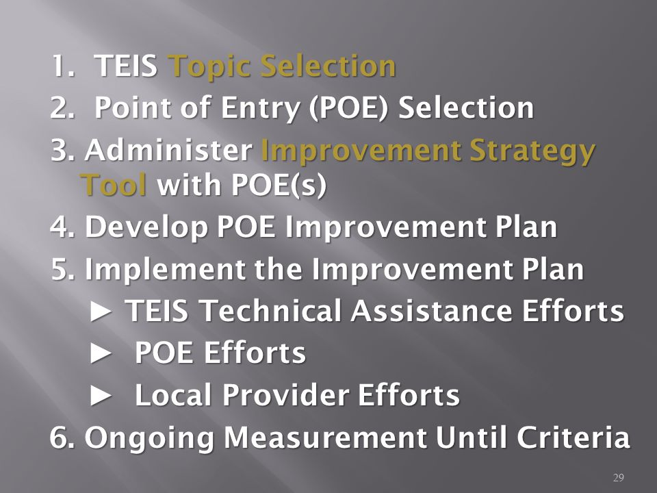 29 1. TEIS Topic Selection 2. Point of Entry (POE) Selection 3.