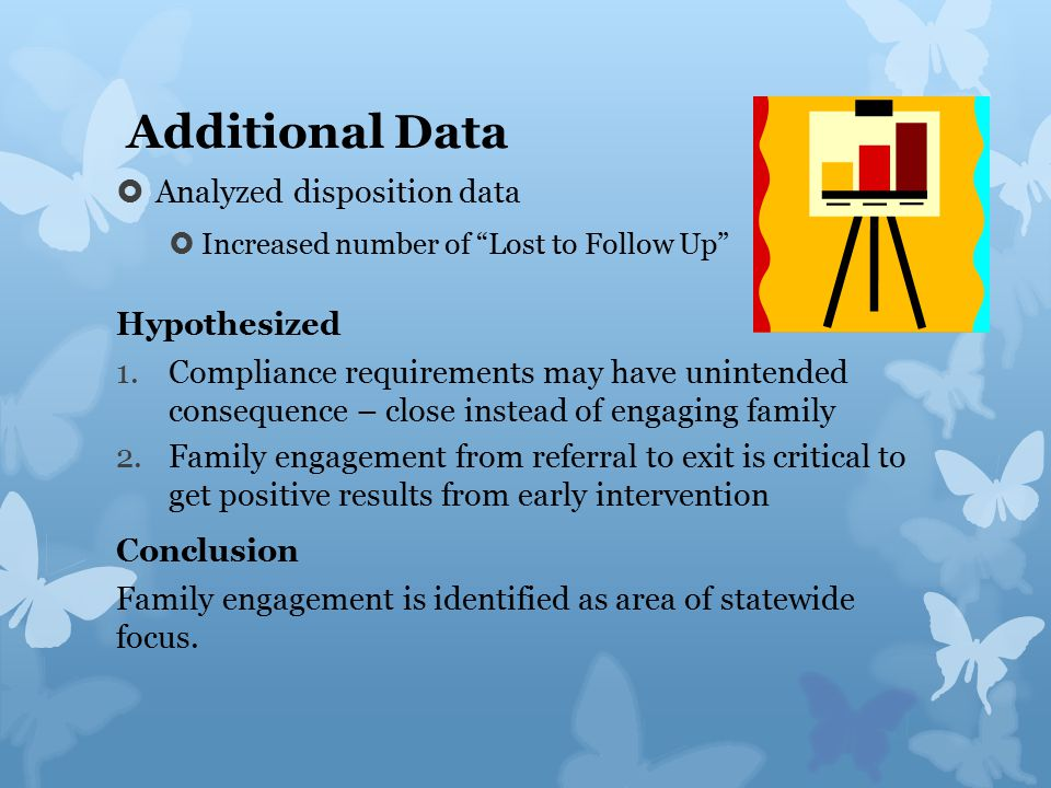 Additional Data  Analyzed disposition data  Increased number of Lost to Follow Up Hypothesized 1.Compliance requirements may have unintended consequence – close instead of engaging family 2.Family engagement from referral to exit is critical to get positive results from early intervention Conclusion Family engagement is identified as area of statewide focus.