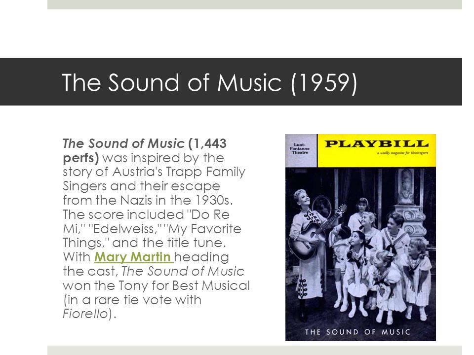 The Sound of Music (1959) The Sound of Music (1,443 perfs) was inspired by the story of Austria s Trapp Family Singers and their escape from the Nazis in the 1930s.