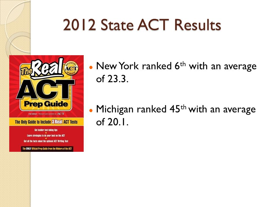 2012 State ACT Results New York ranked 6 th with an average of 23.3. Michigan ranked 45 th with an average of 20.1.