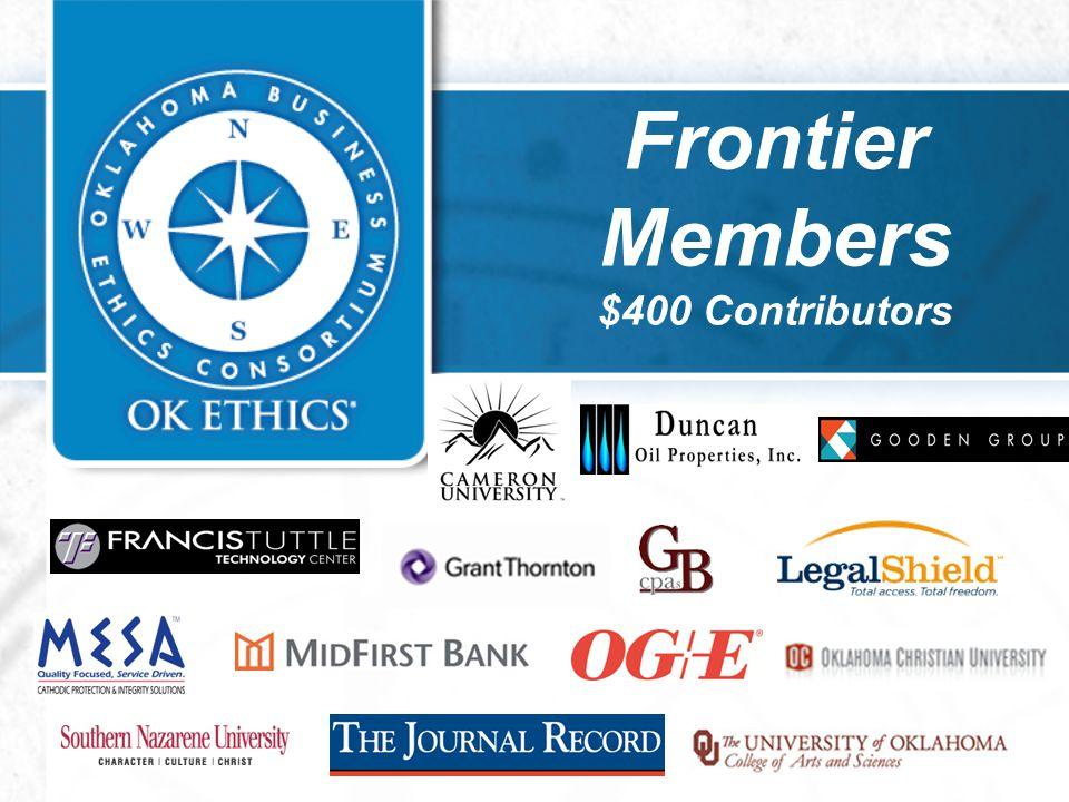 Frontier Members $400 Contributors
