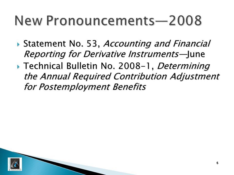 6 New Pronouncements—2008  Statement No.
