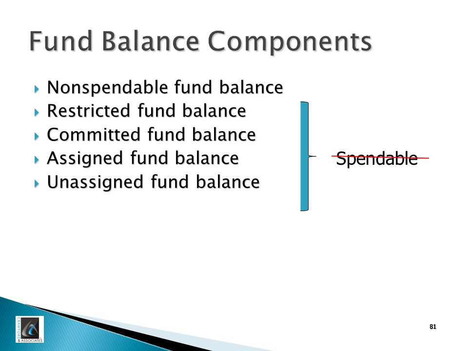 Fund Balance Components  Nonspendable fund balance  Restricted fund balance  Committed fund balance  Assigned fund balance  Unassigned fund balance 81 Spendable