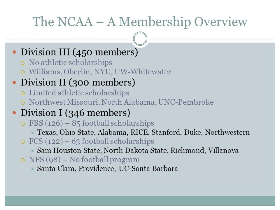 The NCAA – A Membership Overview Division III (450 members)  No athletic scholarships  Williams, Oberlin, NYU, UW-Whitewater Division II (300 members)  Limited athletic scholarships  Northwest Missouri, North Alabama, UNC-Pembroke Division I (346 members)  FBS (126) – 85 football scholarships  Texas, Ohio State, Alabama, RICE, Stanford, Duke, Northwestern  FCS (122) – 63 football scholarships  Sam Houston State, North Dakota State, Richmond, Villanova  NFS (98) – No football program  Santa Clara, Providence, UC-Santa Barbara