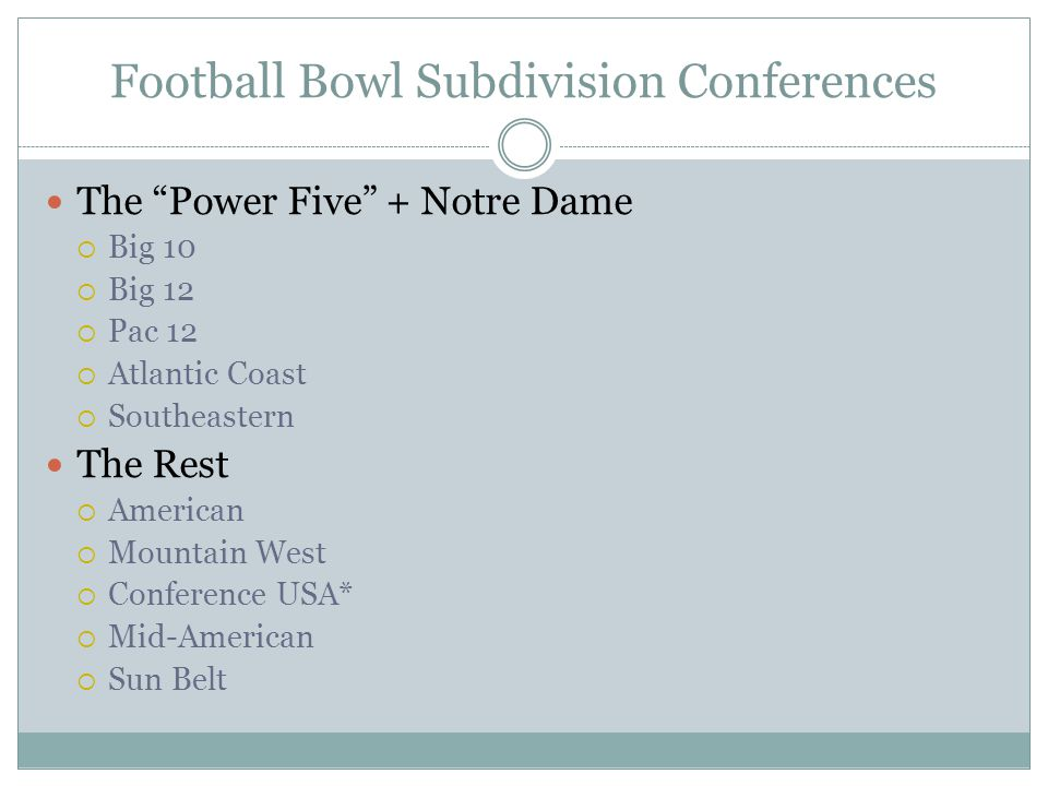 Football Bowl Subdivision Conferences The Power Five + Notre Dame  Big 10  Big 12  Pac 12  Atlantic Coast  Southeastern The Rest  American  Mountain West  Conference USA*  Mid-American  Sun Belt