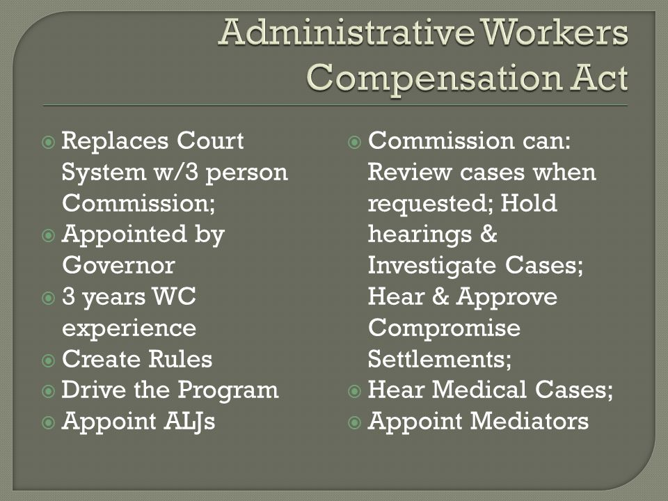  Employee files 1 st Notice of Claim w/Commission;  Commission notifies employer within 10 days of claim;  Employer files Notice of Contested Issues;  Commission assigns case to ALJ;  60 Days for Discovery & Med.