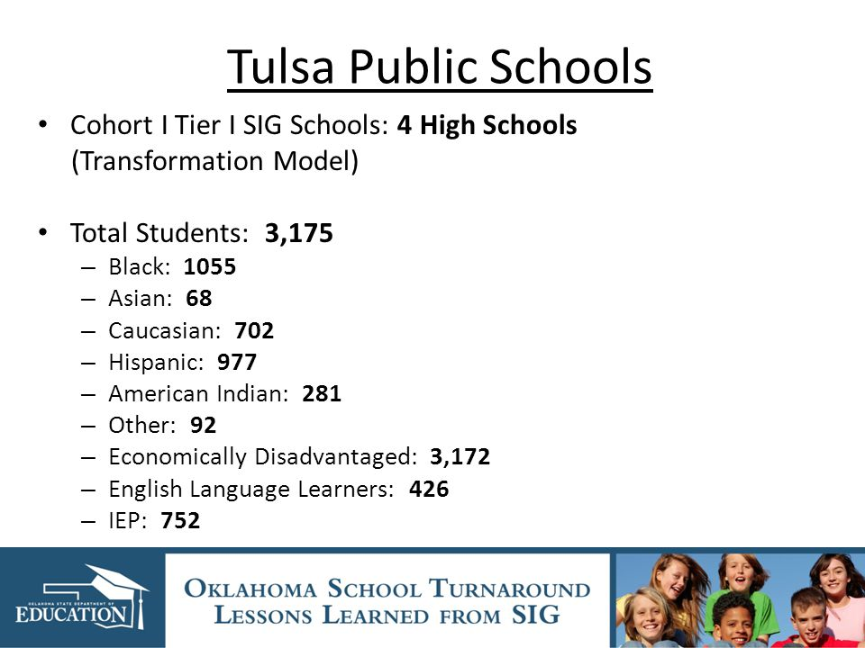 Tulsa Public Schools Cohort I Tier I SIG Schools: 4 High Schools (Transformation Model) Total Students: 3,175 – Black: 1055 – Asian: 68 – Caucasian: 702 – Hispanic: 977 – American Indian: 281 – Other: 92 – Economically Disadvantaged: 3,172 – English Language Learners: 426 – IEP: 752