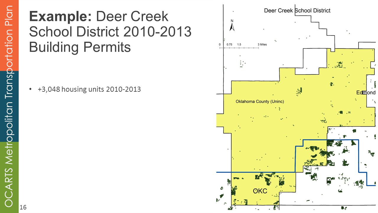 Example: Deer Creek School District 2010-2013 Building Permits +3,048 housing units 2010-2013 16