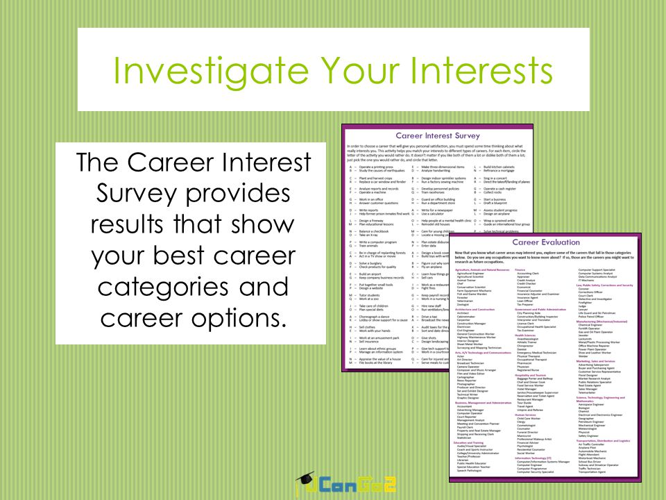 Develop a Career Plan Your career plan should include:  A specific goal  The training required  A list of skills needed  Work and activities to help you gain experience  A plan of action for accomplishing your goal