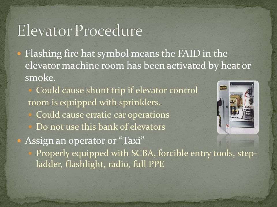 Flashing fire hat symbol means the FAID in the elevator machine room has been activated by heat or smoke.