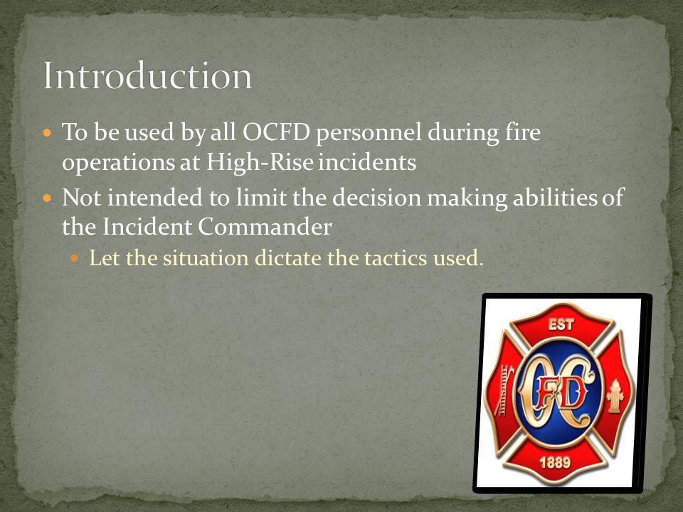 If the building is equipped with secondary FDC Driver will hook up to this FDC and prepare for pumping operations Crew will carry additional High-Rise hose and extra SCBA cylinders to the lobby and standby.