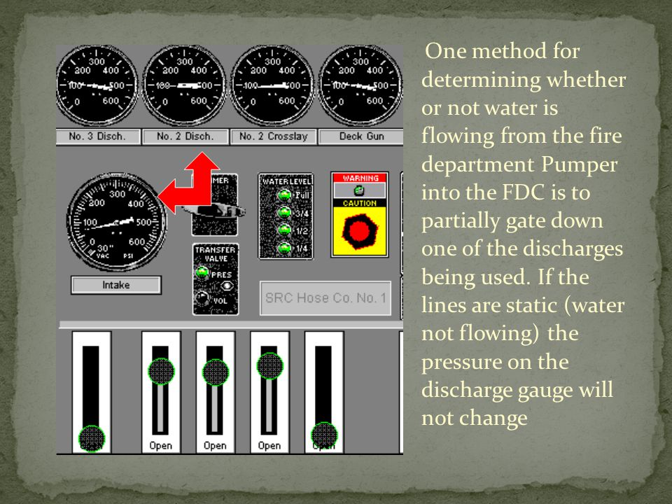 One method for determining whether or not water is flowing from the fire department Pumper into the FDC is to partially gate down one of the discharges being used.