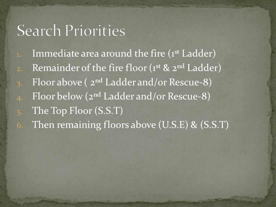 1. Immediate area around the fire (1 st Ladder) 2.