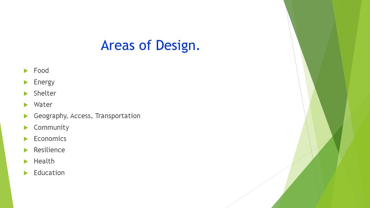 Areas of Design.