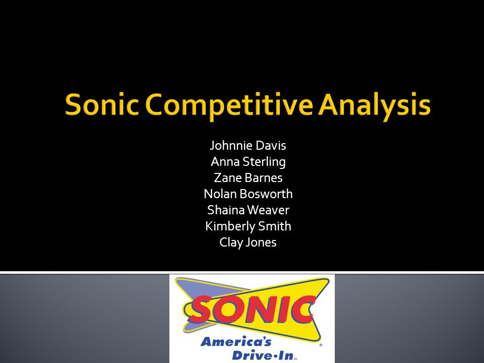  Sonic's Main Competitors:  McDonalds  Burger King  Wendy's  Jack-in-the-Box  Main points:  Leadership  Marketing  Financial Outlook  Globalization