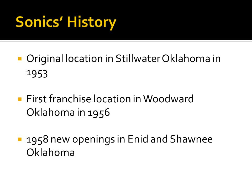  Growth in the 1960's  Vast expansion in the 1970's  Reorganization of the 1980's  Opened 1000 th location in 1987
