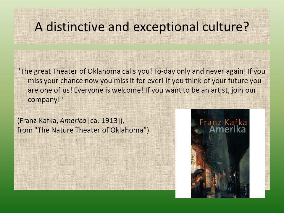 A distinctive and exceptional culture?