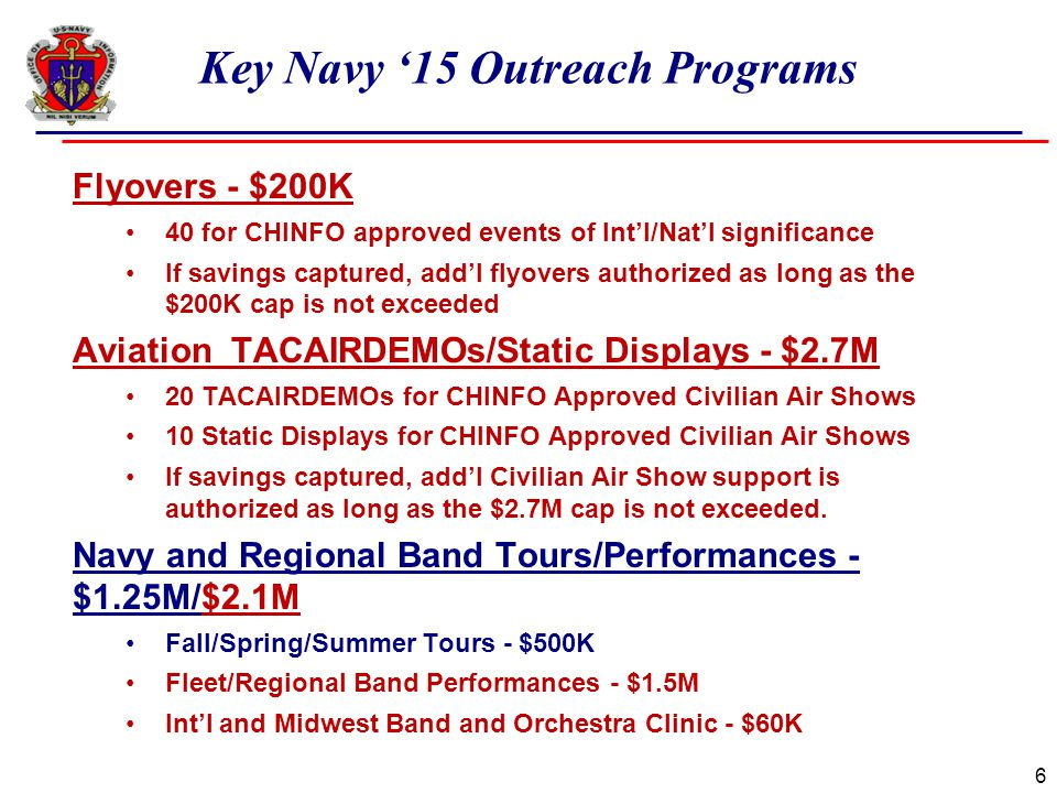 Key Navy '15 Outreach Programs 6 Flyovers - $200K 40 for CHINFO approved events of Int'l/Nat'l significance If savings captured, add'l flyovers author