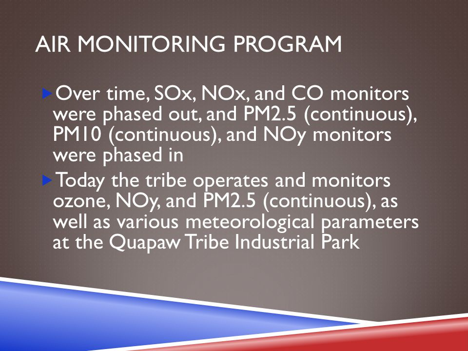 AIR MONITORING PROGRAM  Over time, SOx, NOx, and CO monitors were phased out, and PM2.5 (continuous), PM10 (continuous), and NOy monitors were phased in  Today the tribe operates and monitors ozone, NOy, and PM2.5 (continuous), as well as various meteorological parameters at the Quapaw Tribe Industrial Park