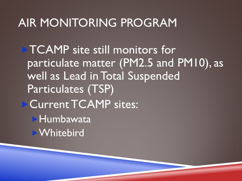 AIR MONITORING PROGRAM  TCAMP site still monitors for particulate matter (PM2.5 and PM10), as well as Lead in Total Suspended Particulates (TSP)  Current TCAMP sites:  Humbawata  Whitebird