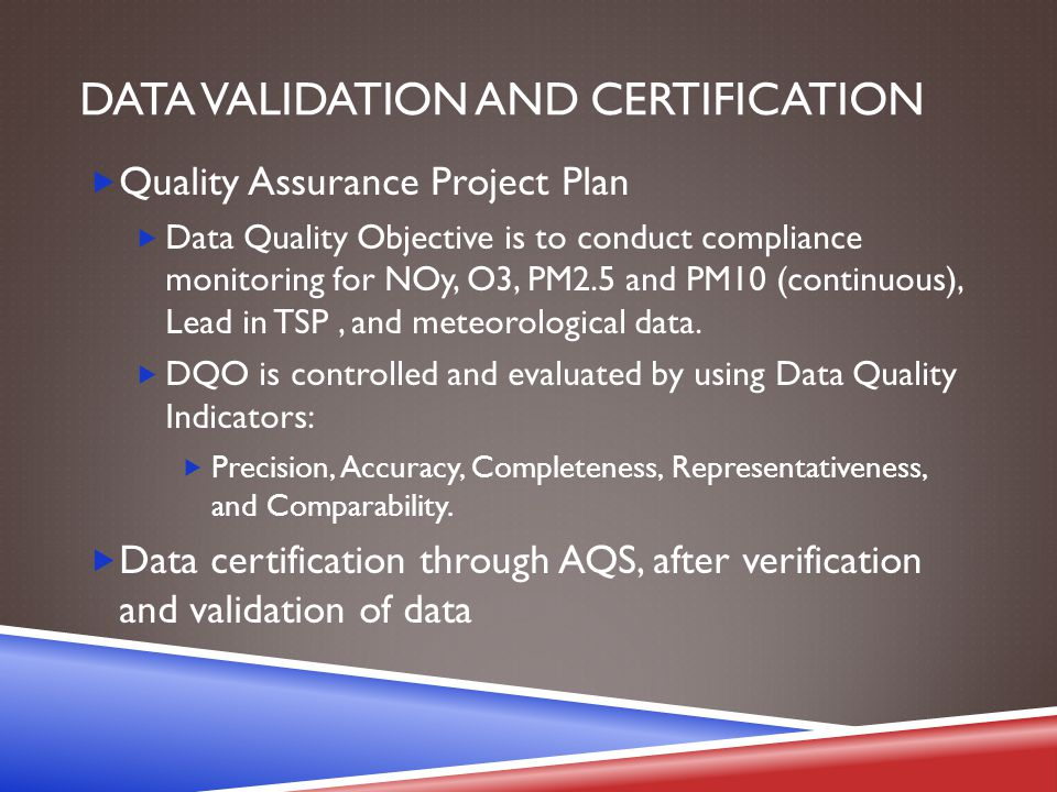 DATA VALIDATION AND CERTIFICATION  Quality Assurance Project Plan  Data Quality Objective is to conduct compliance monitoring for NOy, O3, PM2.5 and