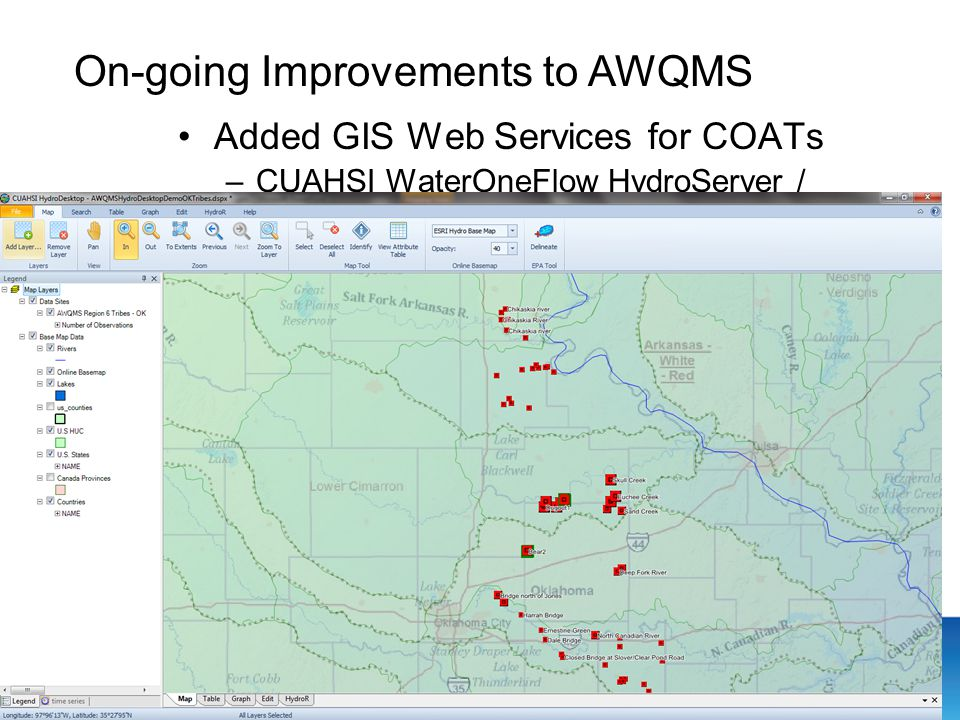 Added GIS Web Services for COATs –CUAHSI WaterOneFlow HydroServer / HydroDesktop.