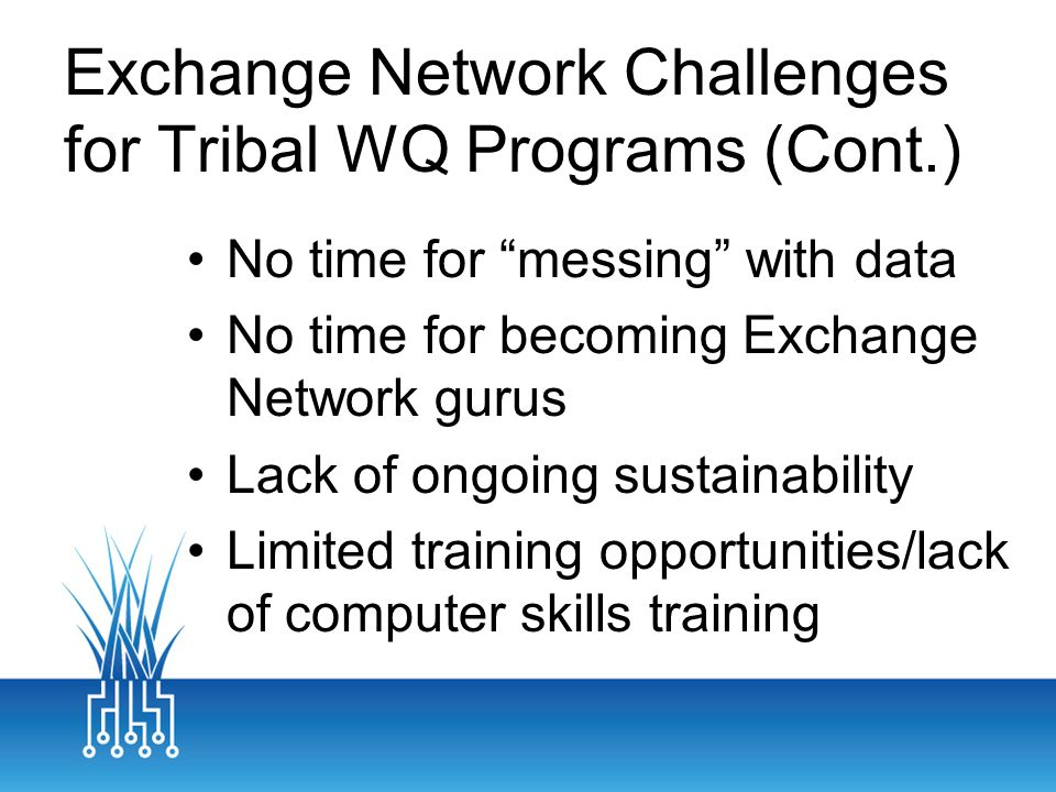 Exchange Network Challenges for Tribal WQ Programs (Cont.) No time for messing with data No time for becoming Exchange Network gurus Lack of ongoing sustainability Limited training opportunities/lack of computer skills training
