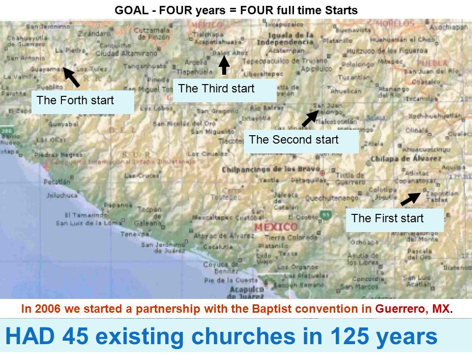 GOAL - FOUR years = FOUR full time Starts The First start The Second start The Third start The Forth start In 2006 we started a partnership with the Baptist convention in Guerrero, MX.