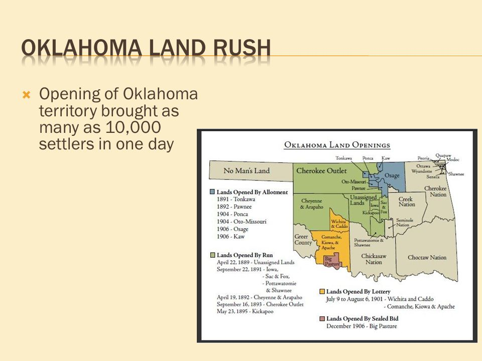  Opening of Oklahoma territory brought as many as 10,000 settlers in one day