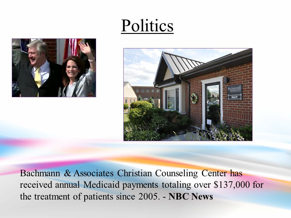 Bachmann & Associates Christian Counseling Center has received annual Medicaid payments totaling over $137,000 for the treatment of patients since 2005.