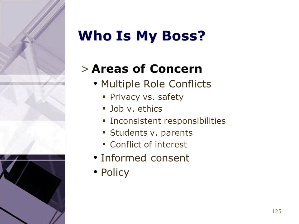 125 Who Is My Boss? >Areas of Concern Multiple Role Conflicts ▪ Privacy vs. safety ▪ Job v. ethics ▪ Inconsistent responsibilities ▪ Students v. paren