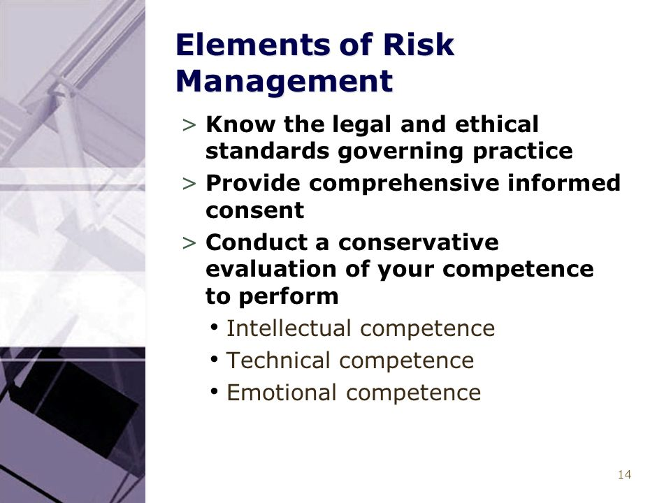 14 Elements of Risk Management >Know the legal and ethical standards governing practice >Provide comprehensive informed consent >Conduct a conservativ