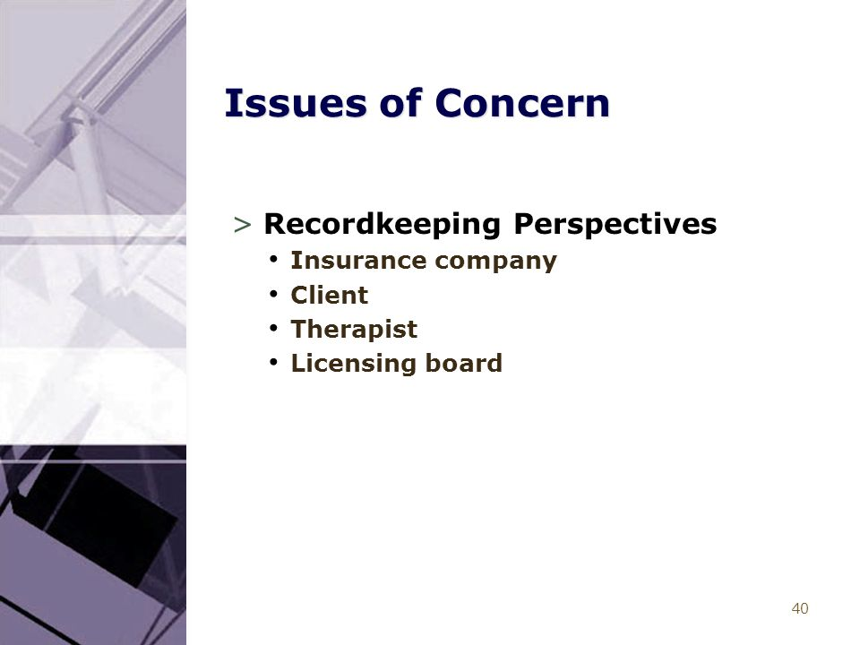 40 Issues of Concern >Recordkeeping Perspectives Insurance company Client Therapist Licensing board