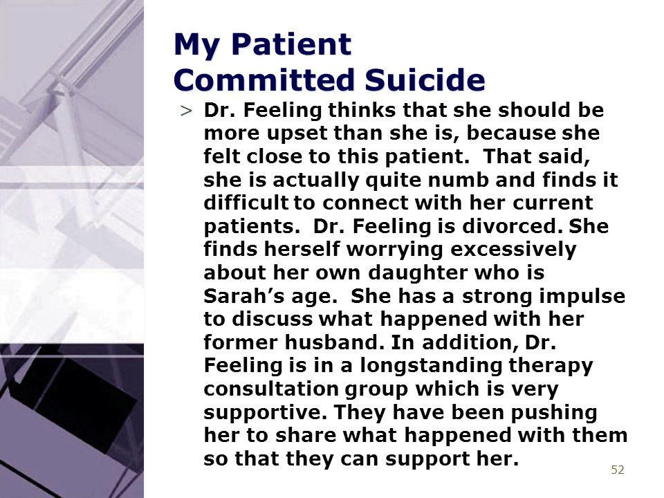 52 My Patient Committed Suicide >Dr.
