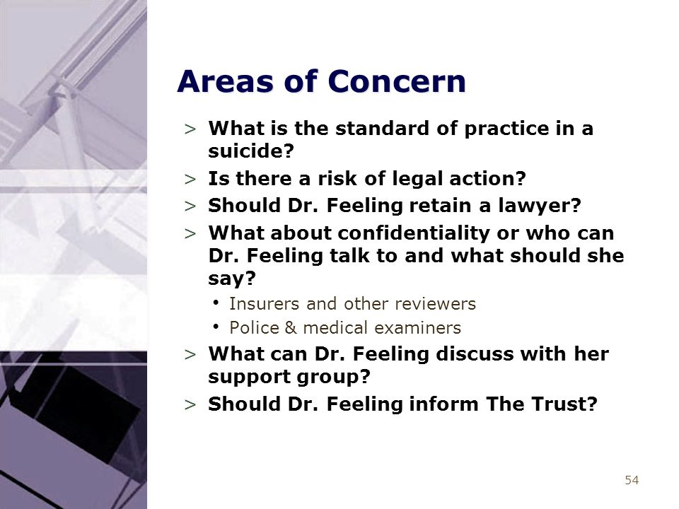 54 Areas of Concern >What is the standard of practice in a suicide? >Is there a risk of legal action? >Should Dr. Feeling retain a lawyer? >What about