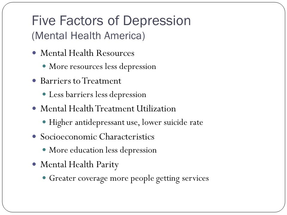 Five Factors of Depression (Mental Health America) Mental Health Resources More resources less depression Barriers to Treatment Less barriers less depression Mental Health Treatment Utilization Higher antidepressant use, lower suicide rate Socioeconomic Characteristics More education less depression Mental Health Parity Greater coverage more people getting services