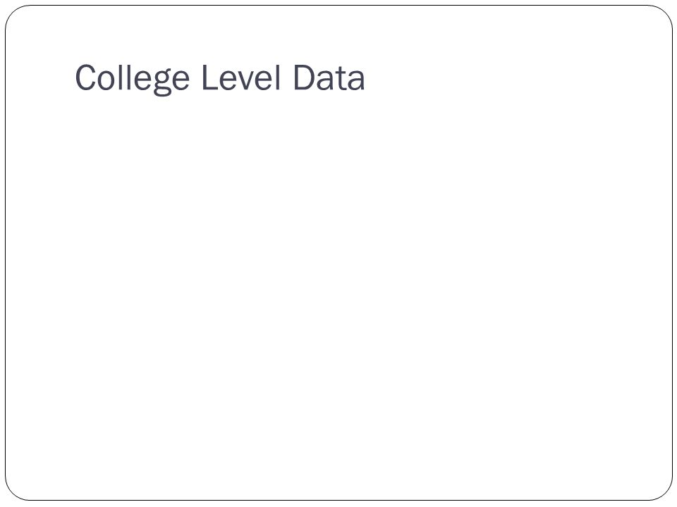 College Level Data