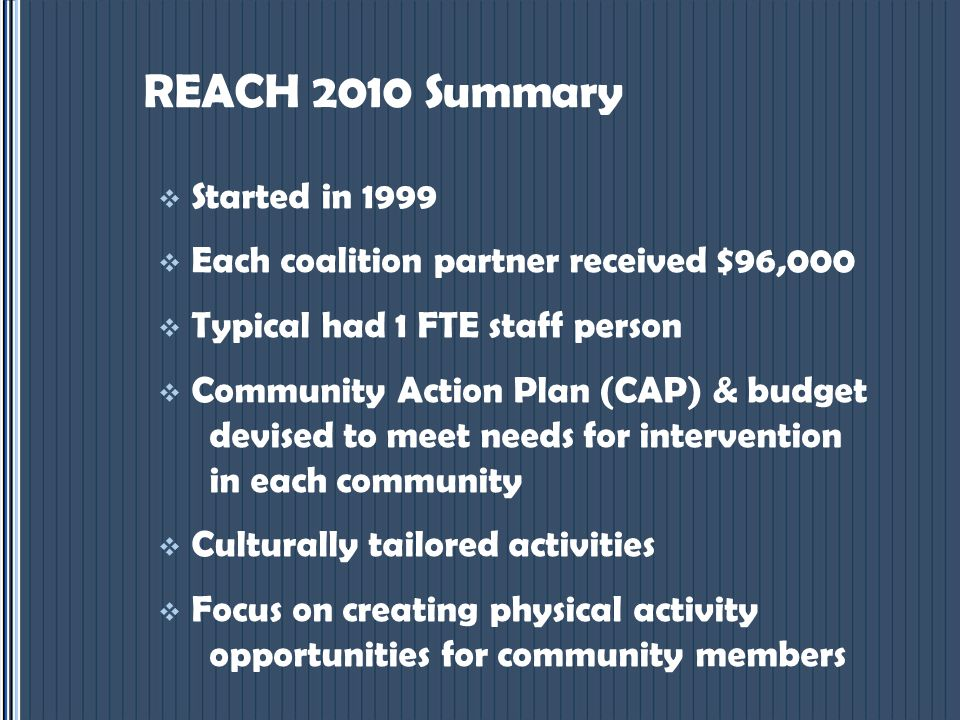 REACH 2010 Summary  Started in 1999  Each coalition partner received $96,000  Typical had 1 FTE staff person  Community Action Plan (CAP) & budget devised to meet needs for intervention in each community  Culturally tailored activities  Focus on creating physical activity opportunities for community members