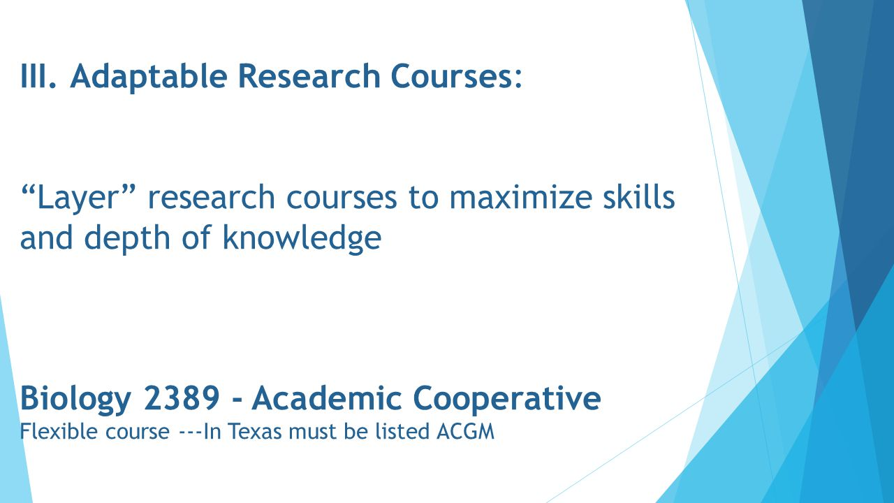 """III. Adaptable Research Courses: """"Layer"""" research courses to maximize skills and depth of knowledge Biology 2389 - Academic Cooperative Flexible cours"""