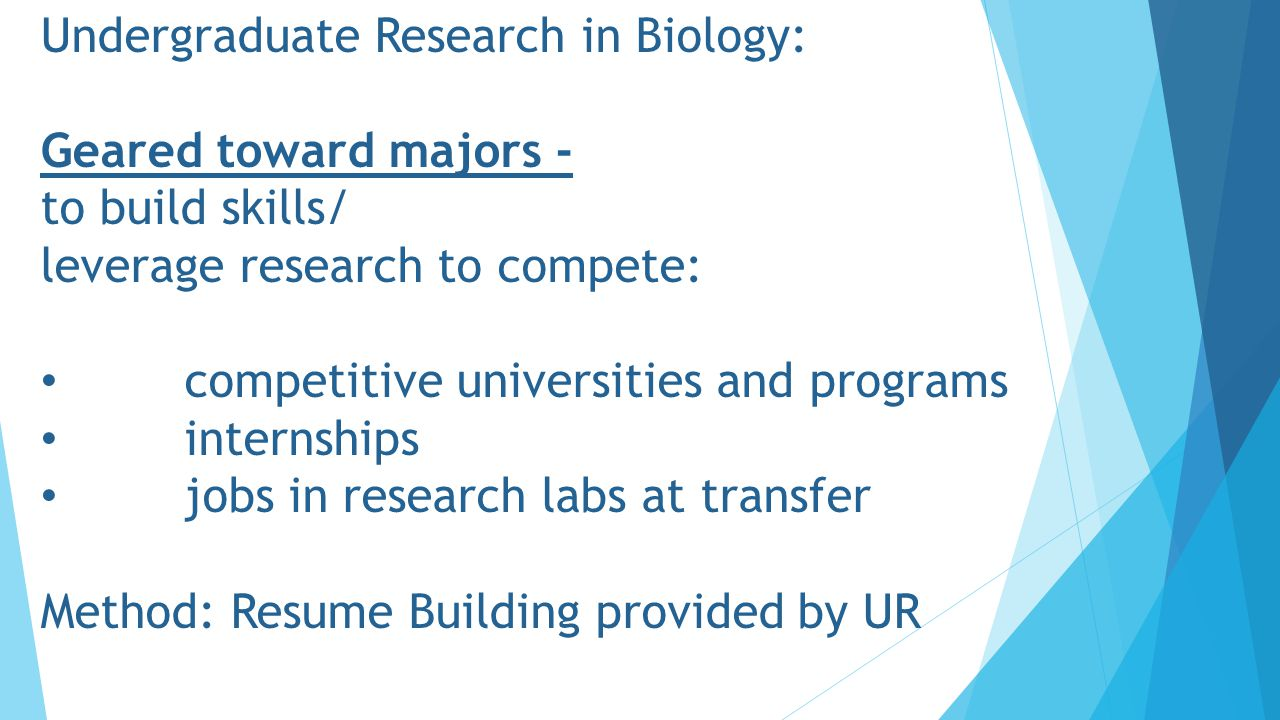 Undergraduate Research in Biology: Geared toward majors - to build skills/ leverage research to compete: competitive universities and programs internships jobs in research labs at transfer Method: Resume Building provided by UR