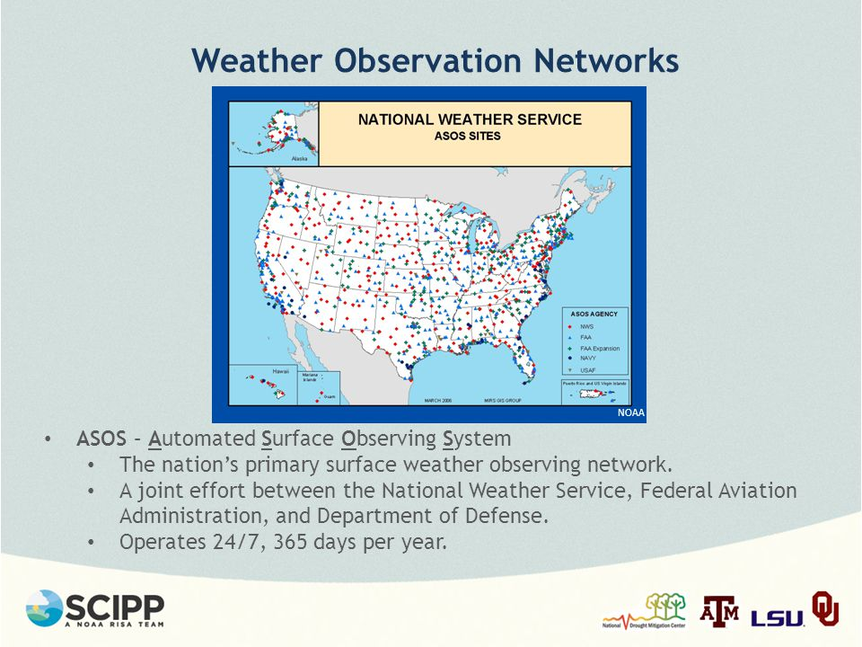 Weather Observation Networks ASOS – Automated Surface Observing System The nation's primary surface weather observing network.
