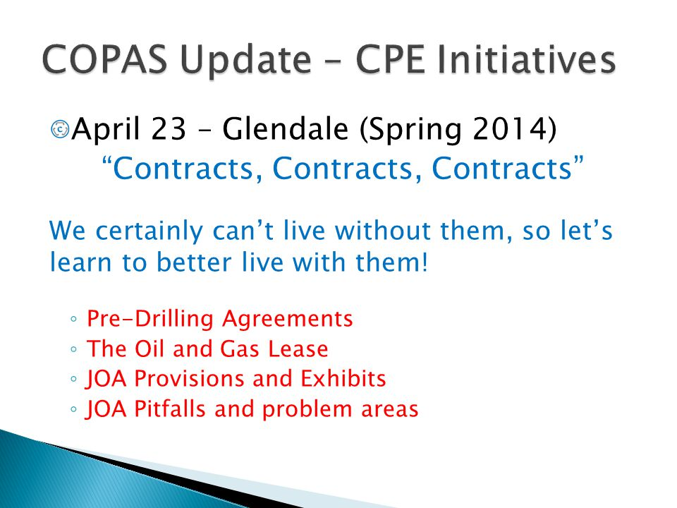 """April 23 – Glendale (Spring 2014) """"Contracts, Contracts, Contracts"""" We certainly can't live without them, so let's learn to better live with them! ◦ P"""